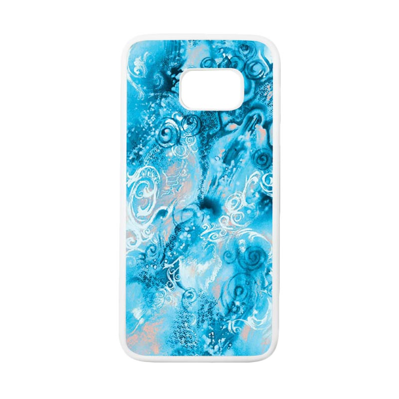 HEAVENCASE Motif Batik Bunga 24 Casing for Samsung Galaxy S7 Edge - Putih