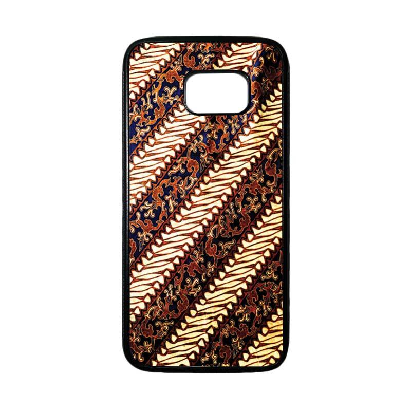 HEAVENCASE Motif Batik Bunga 25 Casing for Samsung Galaxy S7 Edge - Hitam