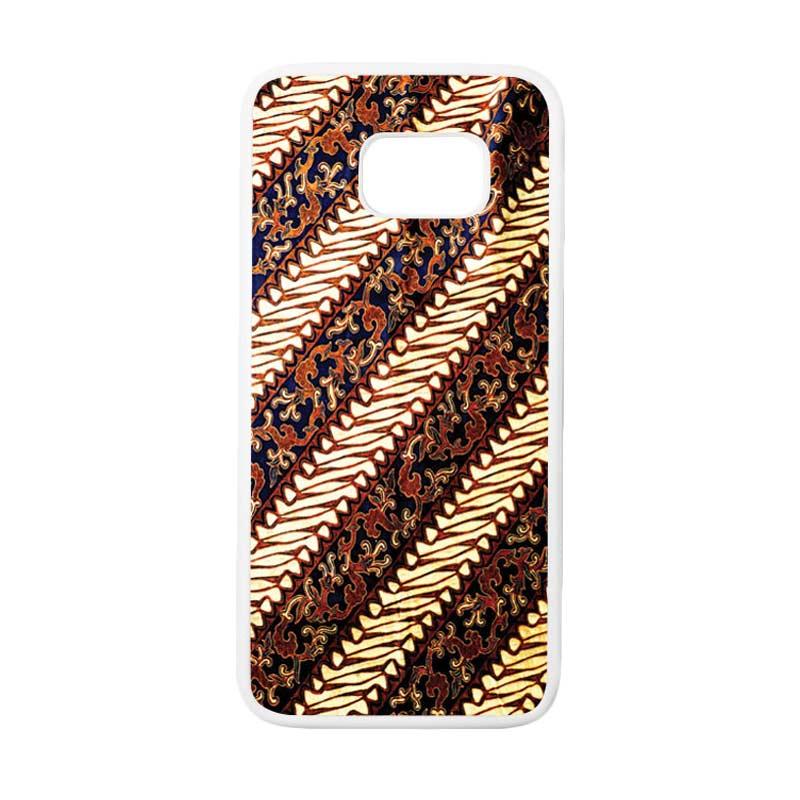HEAVENCASE Motif Batik Bunga 25 Casing for Samsung Galaxy S7 Edge - Putih