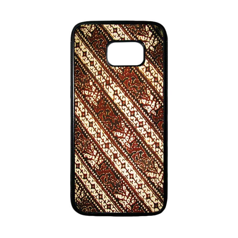 HEAVENCASE Motif Batik Bunga 26 Casing for Samsung Galaxy S7 Edge - Hitam