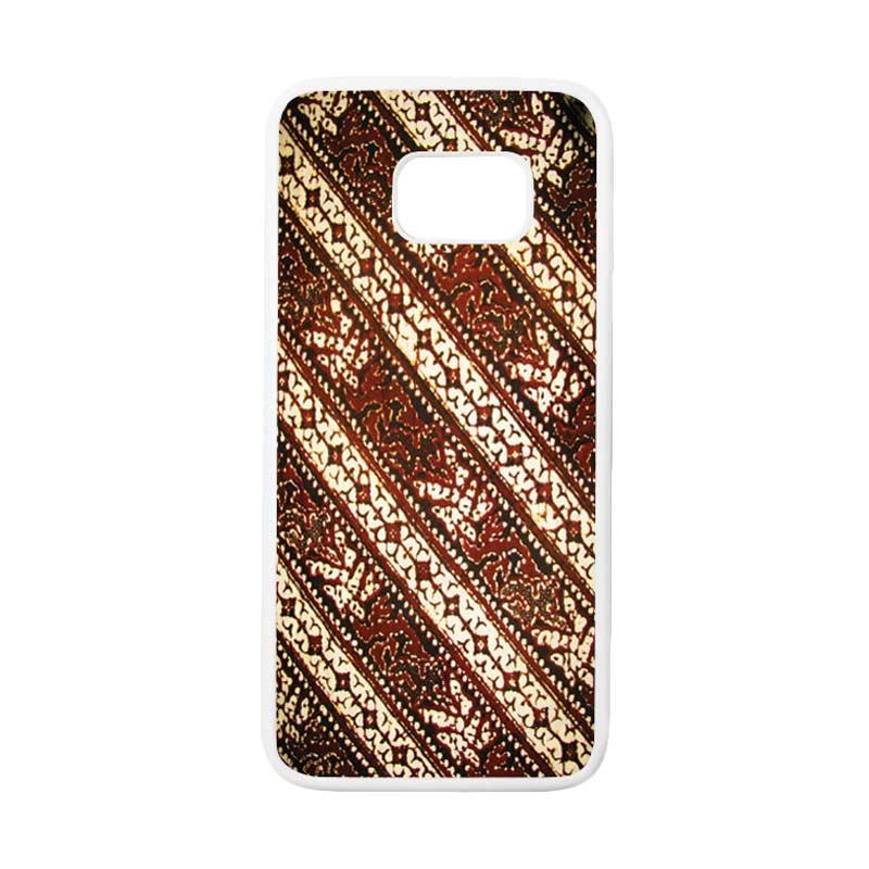 HEAVENCASE Motif Batik Bunga 26 Casing for Samsung Galaxy S7 Edge - Putih
