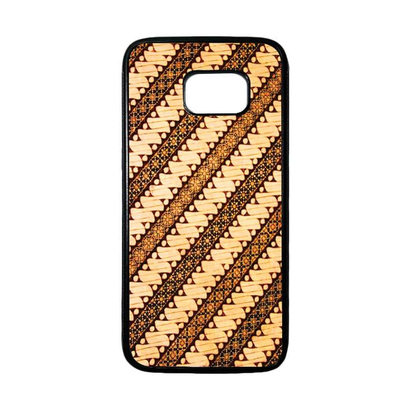 HEAVENCASE Motif Batik Bunga 27 Casing for Samsung Galaxy S7 Edge - Hitam