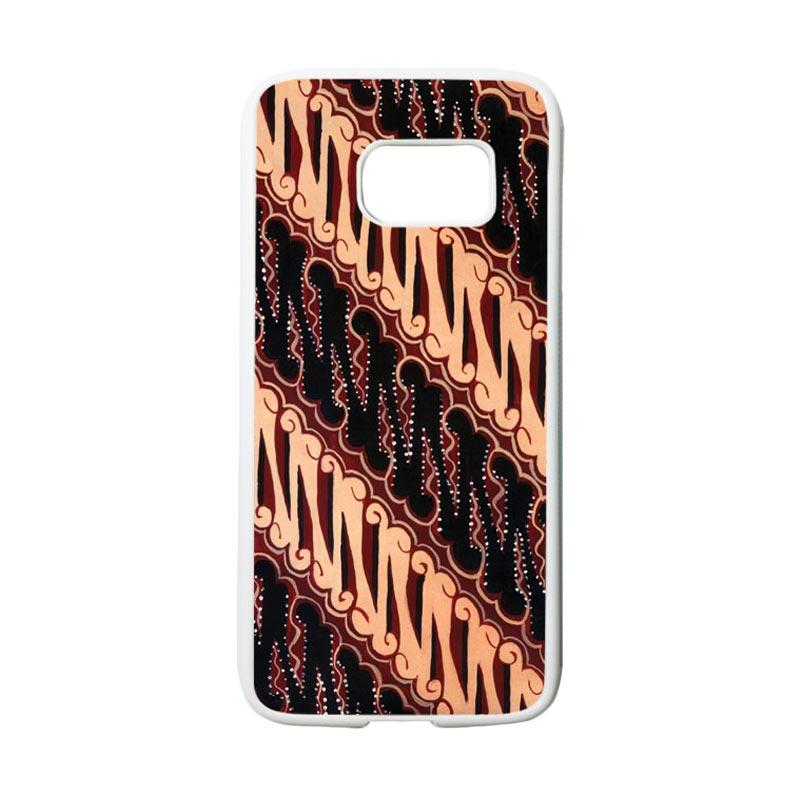 HEAVENCASE Motif Batik Bunga 28 Casing for Samsung Galaxy S7 - Putih