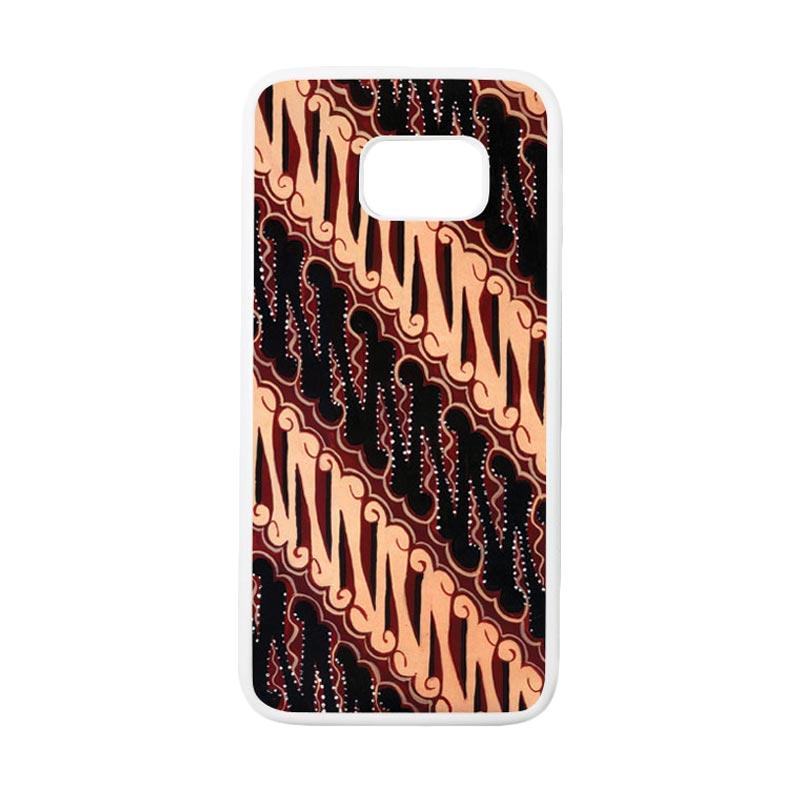 HEAVENCASE Motif Batik Bunga 28 Casing for Samsung Galaxy S7 Edge - Putih