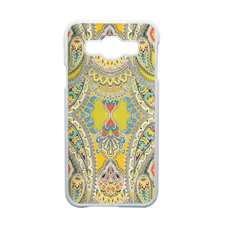 Heavencase Motif Batik Bunga Unik Paisley 07 Hardcase Casing for Samsung Galaxy E5 - Putih