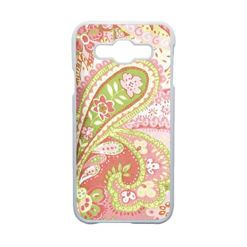 HEAVENCASE Motif Batik Bunga Unik Paisley 16 Hardcase Casing for Samsung Galaxy E5 - Putih