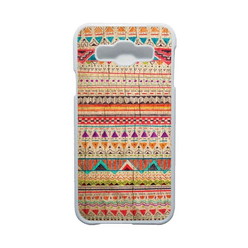 HEAVENCASE Motif Batik Bunga Unik Tribal 03 Hardcase Casing for Samsung Galaxy E5 - Putih