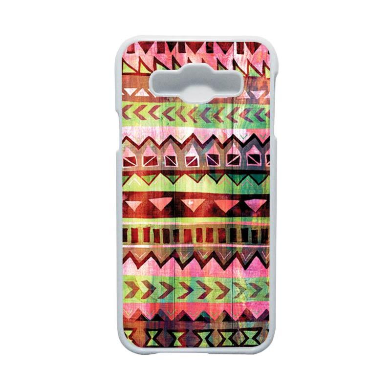HEAVENCASE Motif Batik Bunga Unik Tribal 05 Hardcase Casing for Samsung Galaxy E5 - Putih