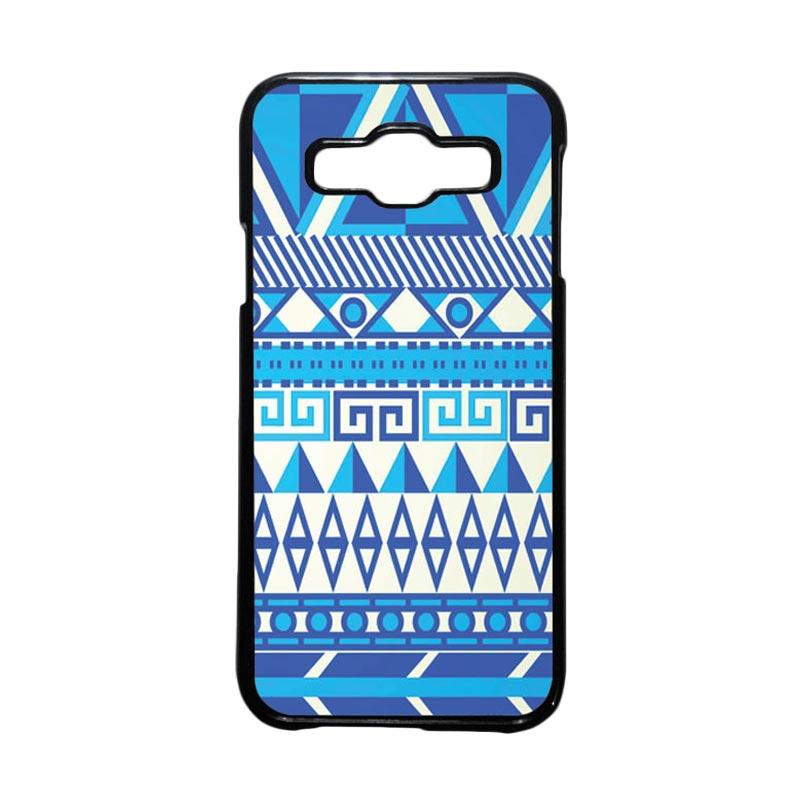 HEAVENCASE Motif Batik Bunga Unik Tribal 07 Hardcase Casing for Samsung Galaxy E5 - Hitam