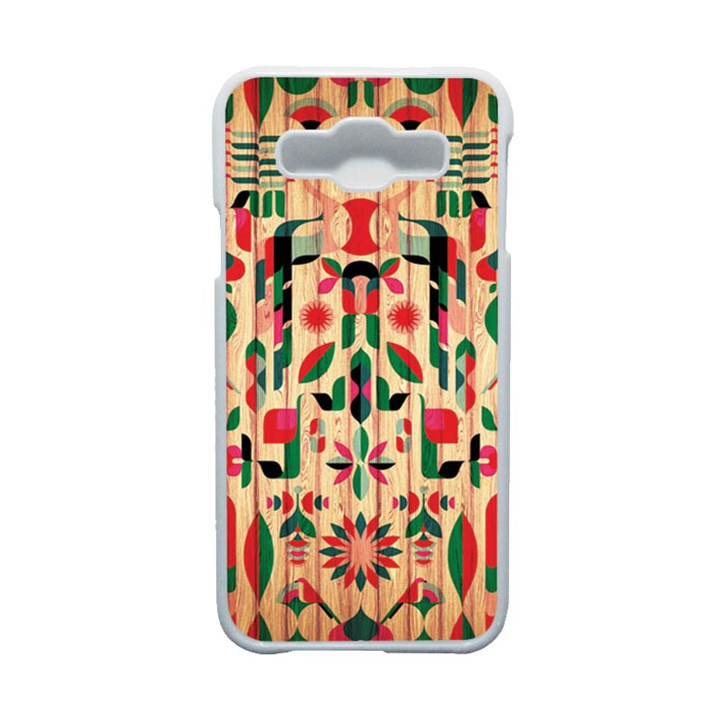 HEAVENCASE Motif Batik Bunga Unik Tribal 08 Hardcase Casing for Samsung Galaxy E5 - Putih