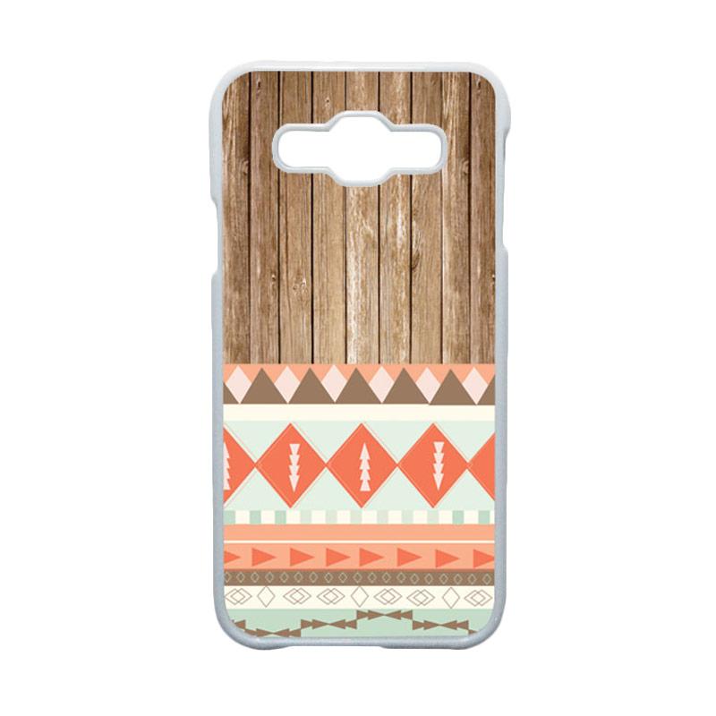 HEAVENCASE Motif Batik Bunga Unik Tribal 11 Hardcase Casing for Samsung Galaxy E5 - Putih