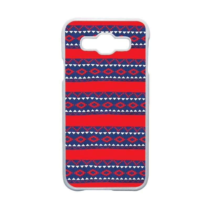 HEAVENCASE Motif Batik Bunga Unik Tribal 19 Hardcase Casing for Samsung Galaxy E5 - Putih