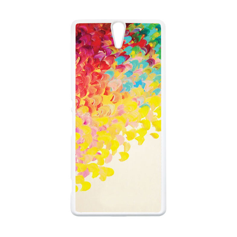 HEAVENCASE Motif Batik Kayu Bokeh 07 Putih Hardcase Casing for Sony Xperia C5 Ultra