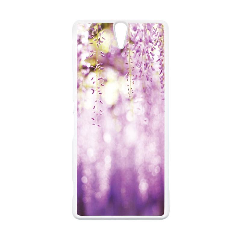 HEAVENCASE Motif Batik Kayu Bokeh 10 Putih Hardcase Casing for Sony Xperia C5 Ultra