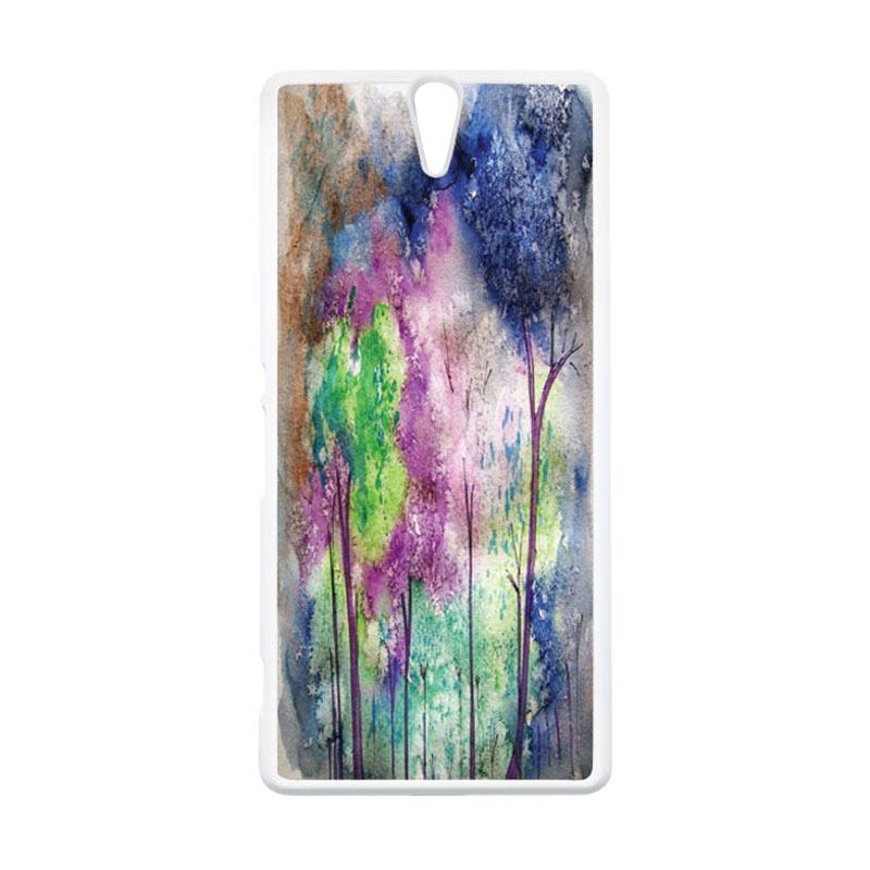 HEAVENCASE Motif Batik Kayu Bokeh 17 Putih Hardcase Casing for Sony Xperia C5 Ultra