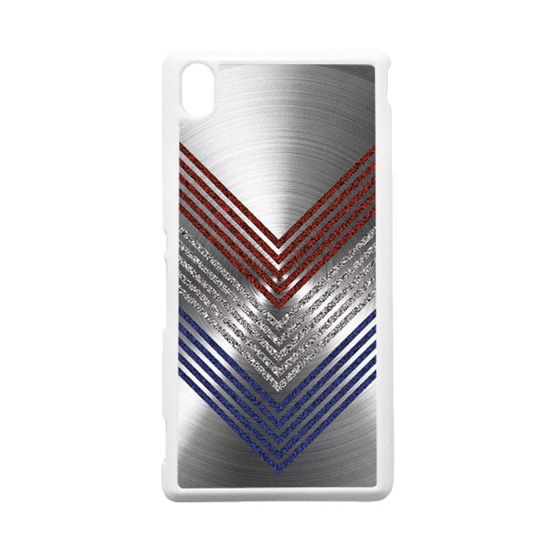 HEAVENCASE Motif Batik Kayu Chevron 11 Hardcase Casing for Sony Xperia M4 Aqua - Putih