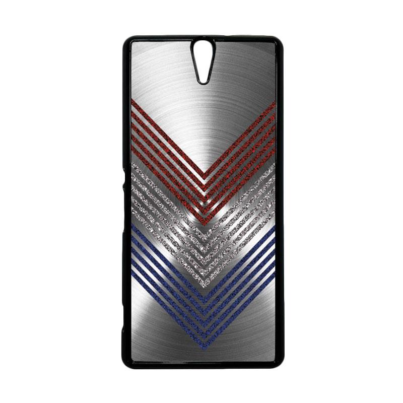HEAVENCASE Motif Batik Kayu Chevron 11 Hitam Hardcase Casing for Sony Xperia C5 Ultra
