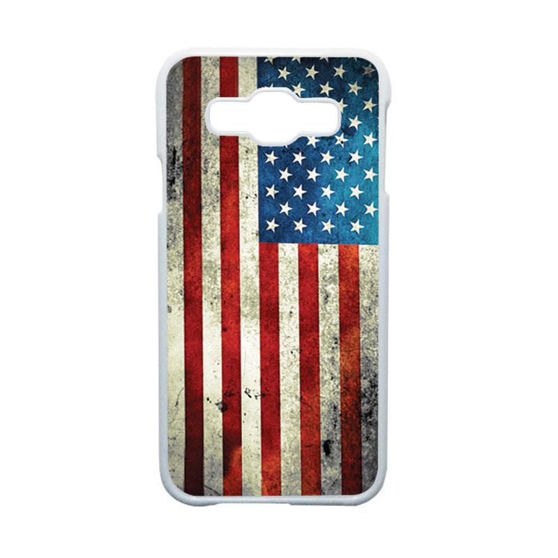 HEAVENCASE Motif Bendera Amerika Hardcase Casing for Samsung Galaxy E5 - Putih