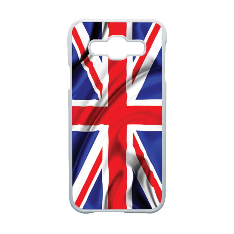 HEAVENCASE Motif Bendera Inggris 2 Casing for Samsung Galaxy E5 - Putih