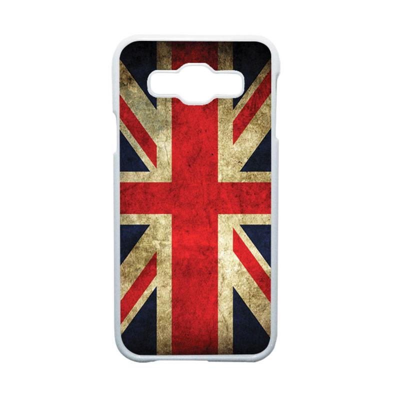 HEAVENCASE Motif Bendera Inggris Hardcase Casing for Samsung Galaxy E5 - Putih