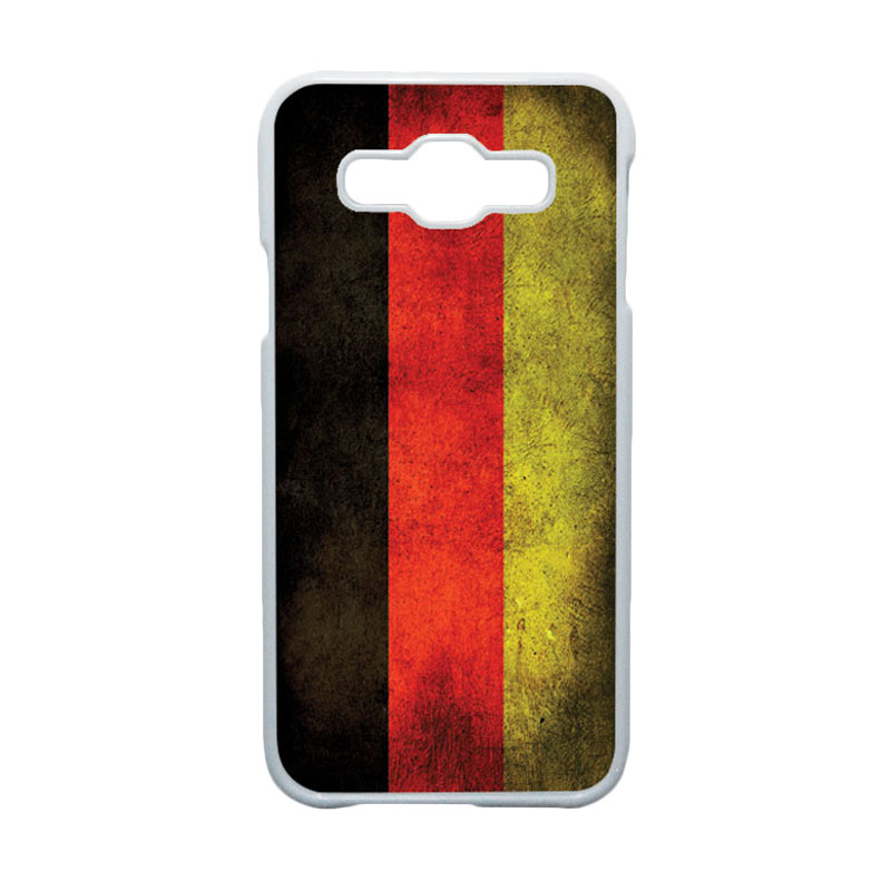 HEAVENCASE Motif Bendera Jerman Casing for Samsung Galaxy E5 - Putih