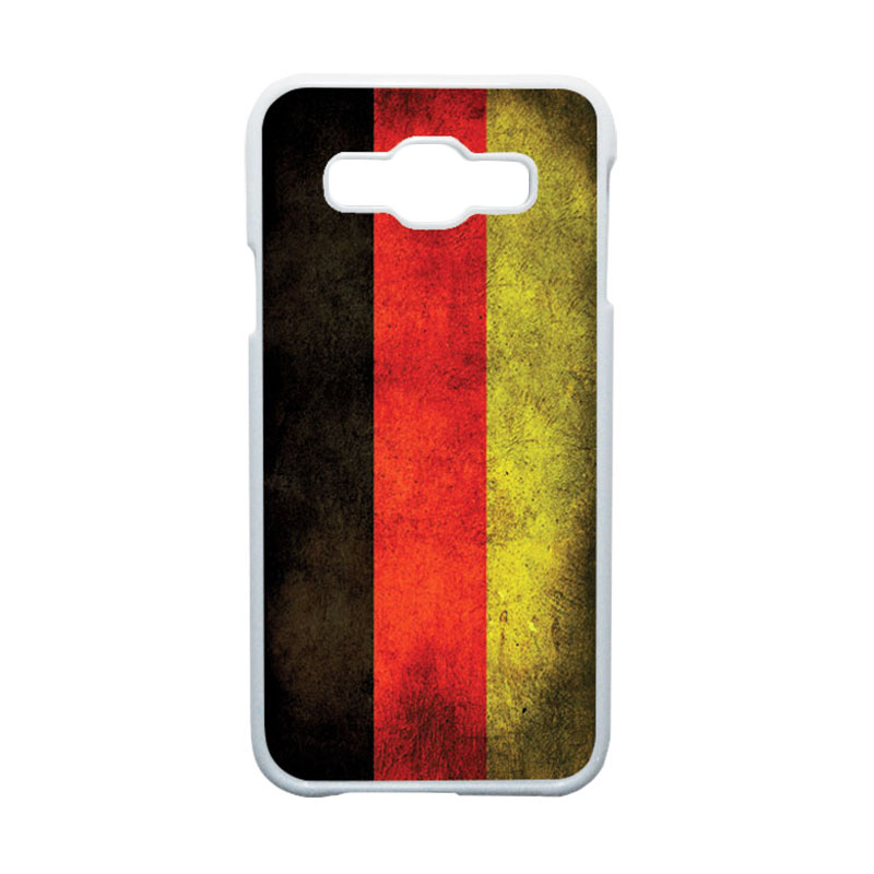HEAVENCASE Motif Bendera Jerman Hardcase Casing for Samsung Galaxy E5 - Putih