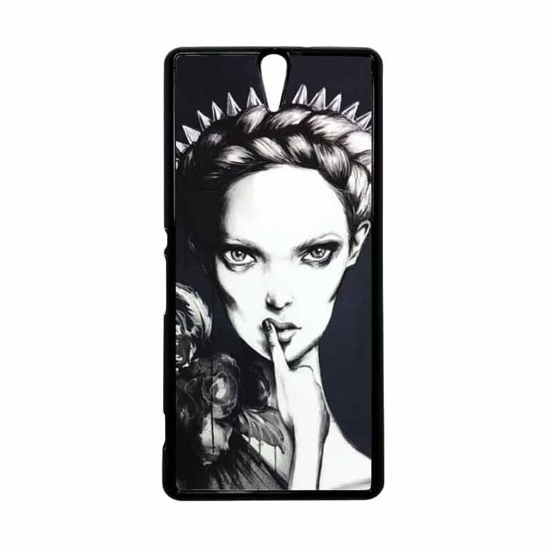 HEAVENCASE Motif Girl Woman 05 Hitam Hardcase Casing for Sony Xperia C5 Ultra