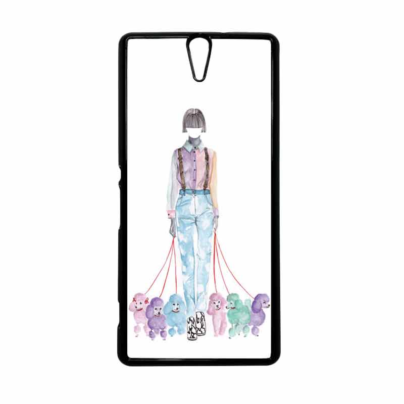 HEAVENCASE Motif Girl Woman 07 Hitam Hardcase Casing for Sony Xperia C5 Ultra