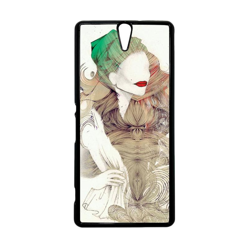 HEAVENCASE Motif Girl Woman 08 Hitam Hardcase Casing for Sony Xperia C5 Ultra