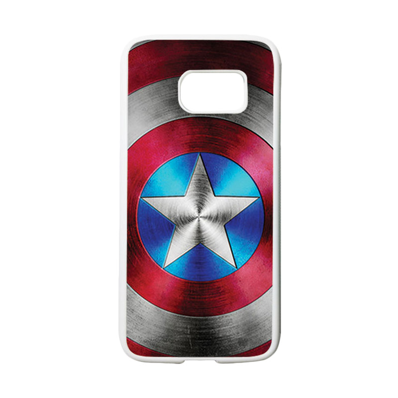 HEAVENCASE Motif Superhero Captain America 01 Casing for Samsung Galaxy S7 - Putih