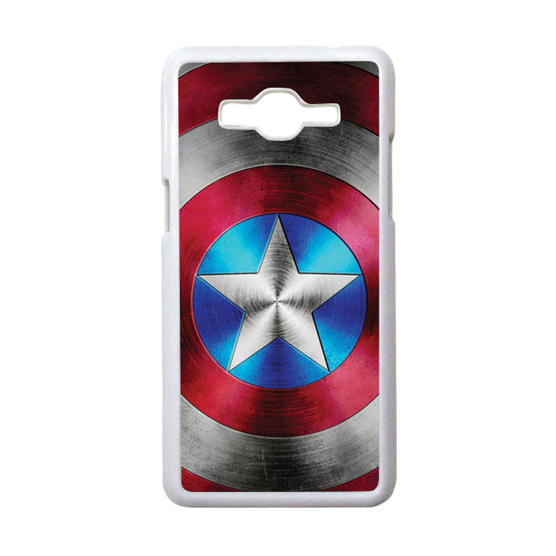 HEAVENCASE Motif Superhero Captain America 01 Hardcase Casing for Samsung Galaxy Grand Prime - Putih