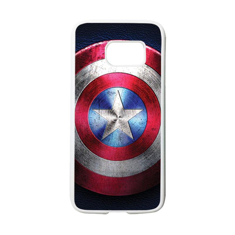 HEAVENCASE Motif Superhero Captain America 04 Casing for Samsung Galaxy S7 - Putih