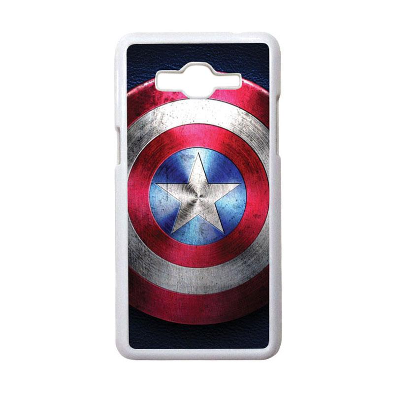 HEAVENCASE Motif Superhero Captain America 04 Hardcase Casing for Samsung Galaxy Grand Prime - Putih