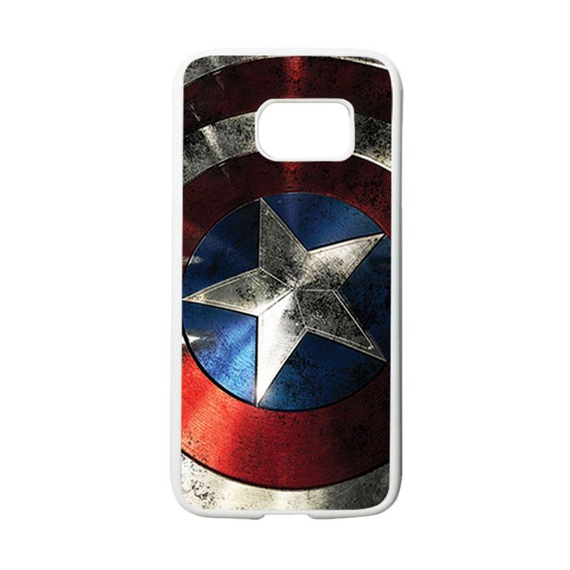 HEAVENCASE Motif Superhero Captain America 06 Casing for Samsung Galaxy S7 - Putih