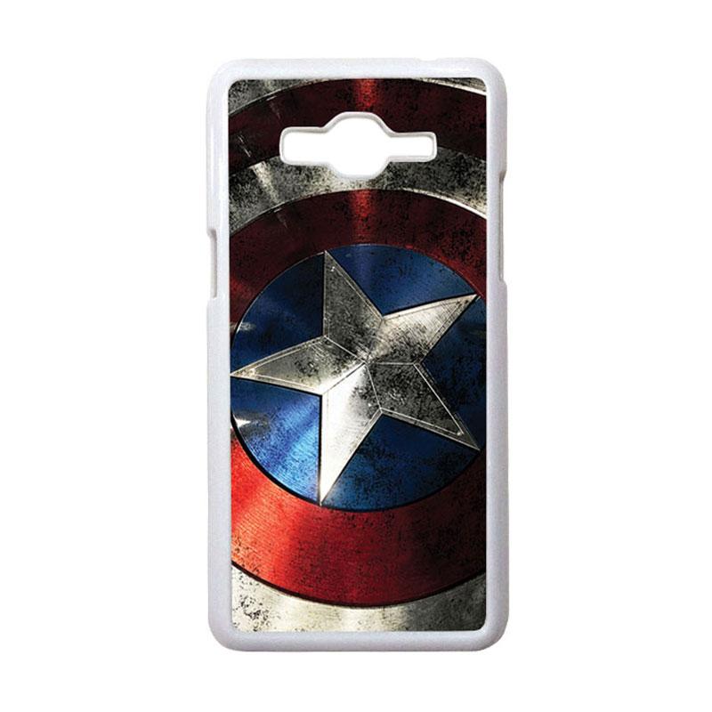 HEAVENCASE Motif Superhero Captain America 06 Hardcase Casing for Samsung Galaxy Grand Prime - Putih