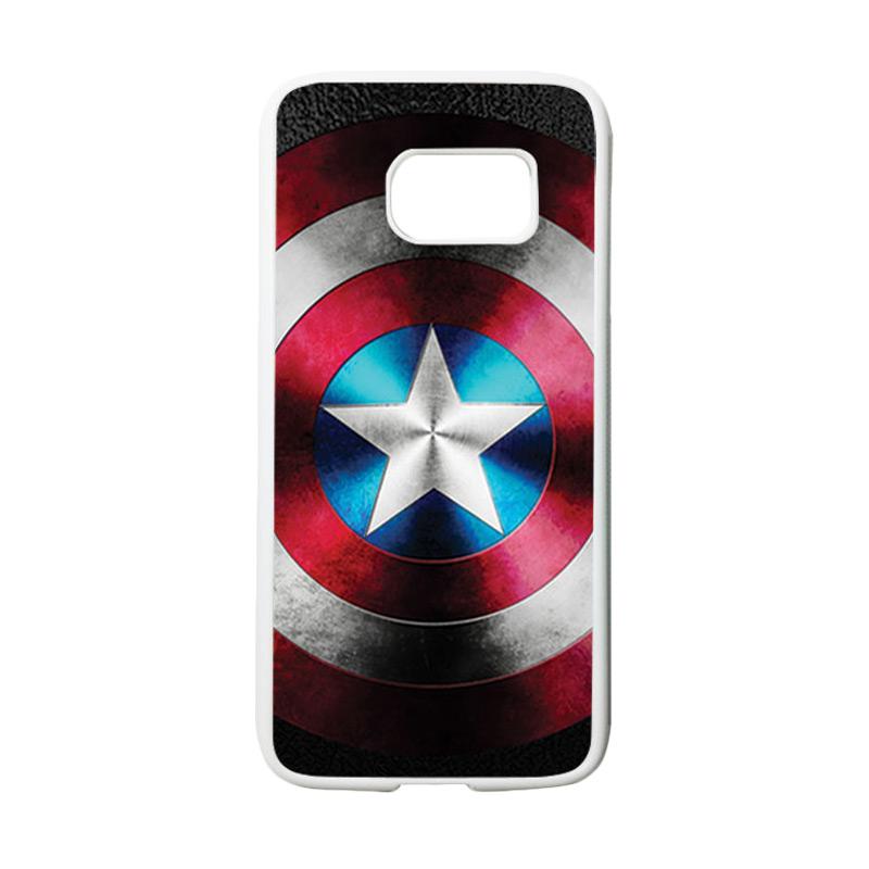HEAVENCASE Motif Superhero Captain America 07 Casing for Samsung Galaxy S7 - Putih
