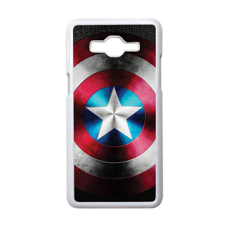 HEAVENCASE Motif Superhero Captain America 07 Hardcase Casing for Samsung Galaxy Grand Prime - Putih