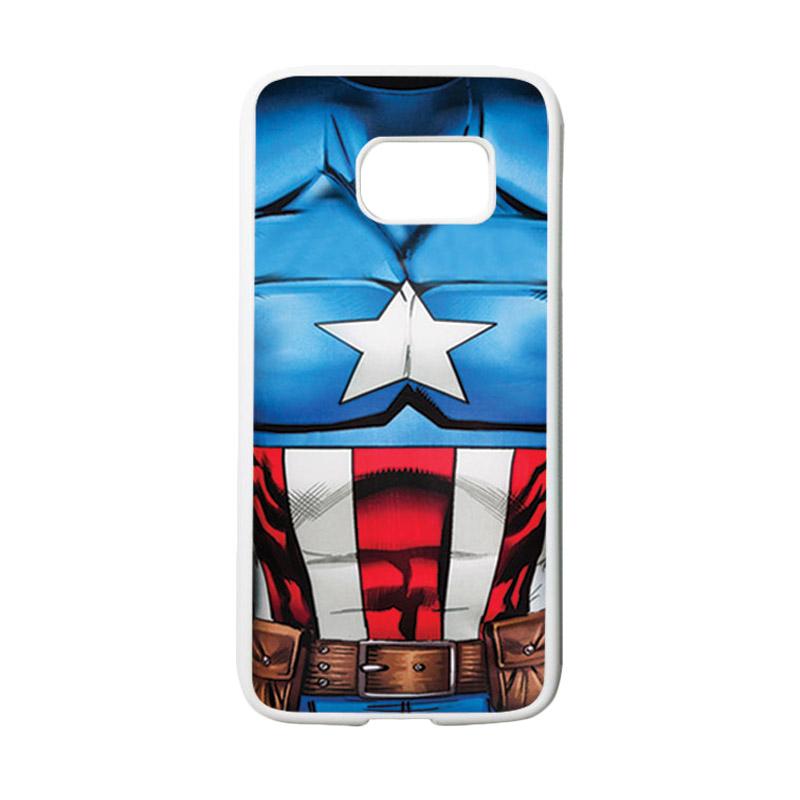 HEAVENCASE Motif Superhero Captain America 08 Casing for Samsung Galaxy S7 - Putih