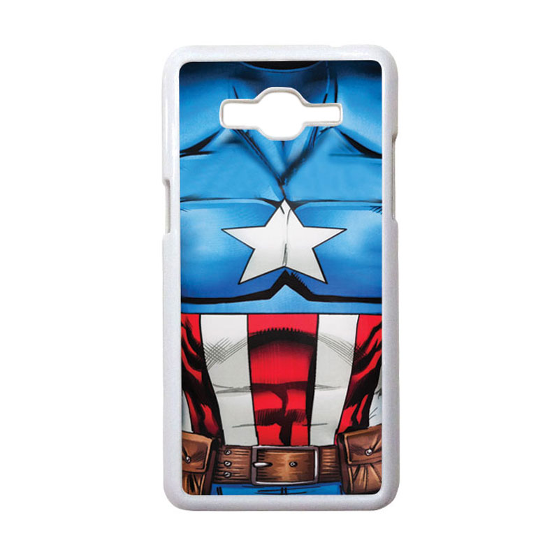 HEAVENCASE Motif Superhero Captain America 08 Hardcase Casing for Samsung Galaxy Grand Prime - Putih
