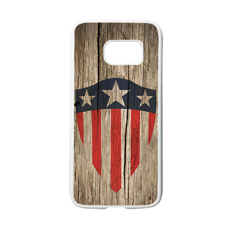 HEAVENCASE Motif Superhero Captain America 10 Casing for Samsung Galaxy S7 - Putih
