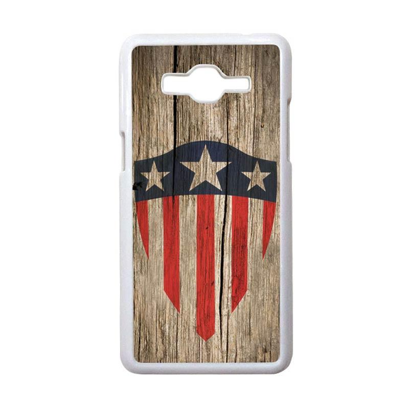 HEAVENCASE Motif Superhero Captain America 10 Hardcase Casing for Samsung Galaxy Grand Prime - Putih