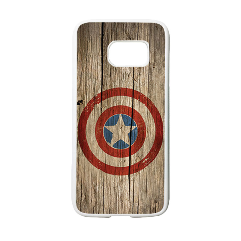 HEAVENCASE Motif Superhero Captain America 11 Casing for Samsung Galaxy S7 - Putih