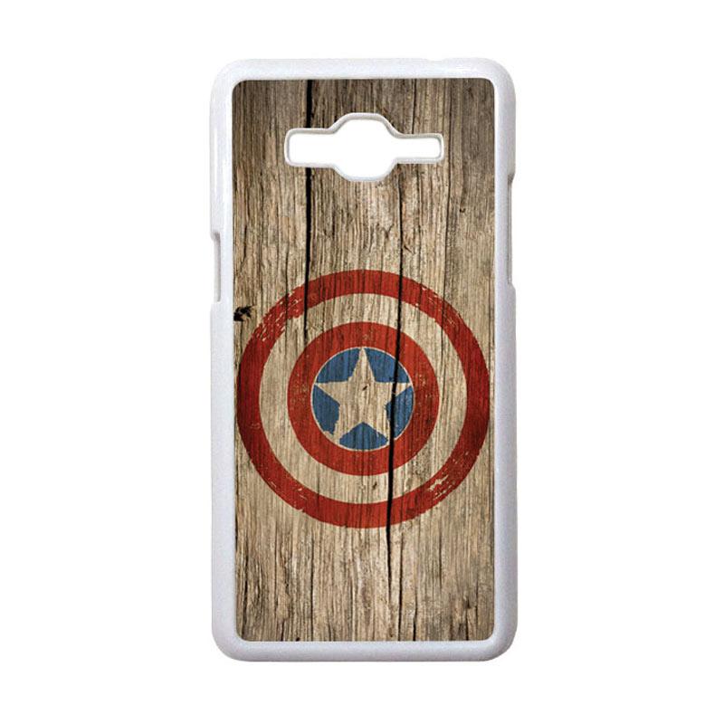 HEAVENCASE Motif Superhero Captain America 11 Hardcase Casing for Samsung Galaxy Grand Prime - Putih