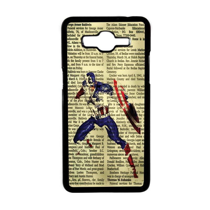 HEAVENCASE Motif Superhero Captain America 12 Hardcase Casing for Samsung Galaxy Grand Prime - Hitam