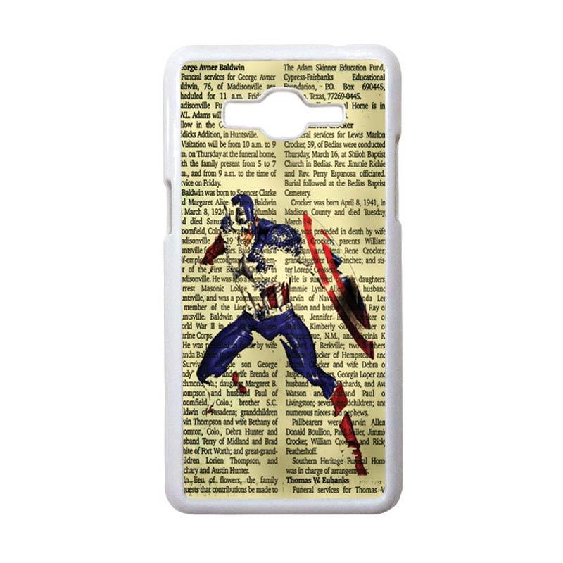 HEAVENCASE Motif Superhero Captain America 12 Hardcase Casing for Samsung Galaxy Grand Prime - Putih