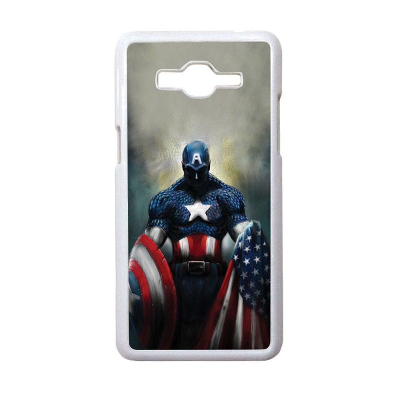HEAVENCASE Motif Superhero Captain America 13 Casing for Samsung Galaxy Grand Prime - Putih