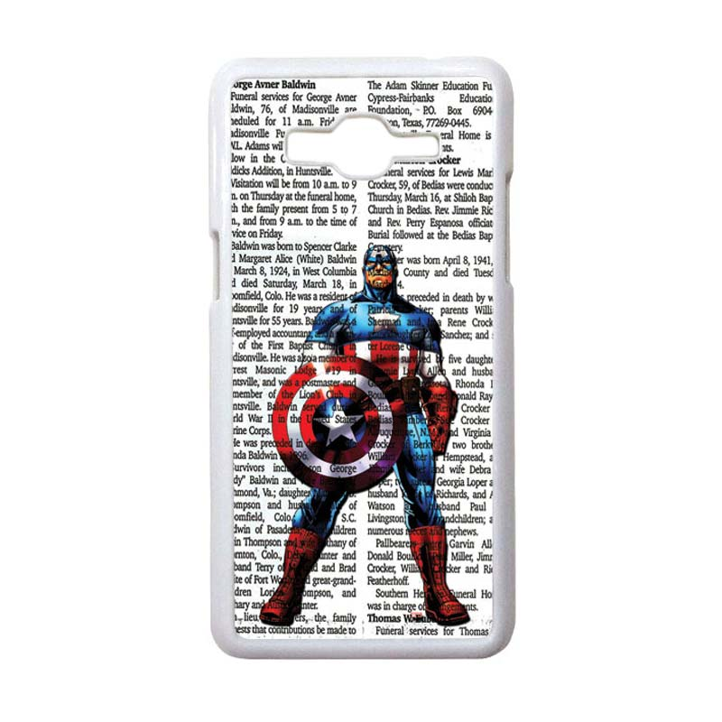 HEAVENCASE Motif Superhero Captain America 15 Casing for Samsung Galaxy Grand Prime - Putih