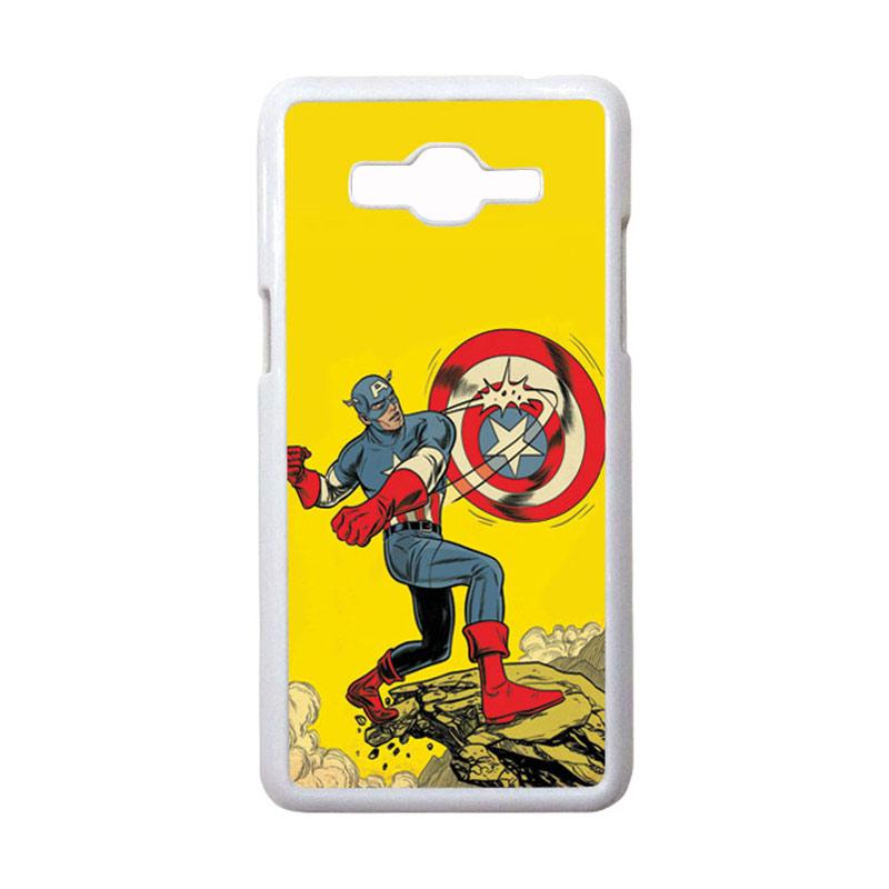 HEAVENCASE Motif Superhero Captain America 16 Casing for Samsung Galaxy Grand Prime - Putih
