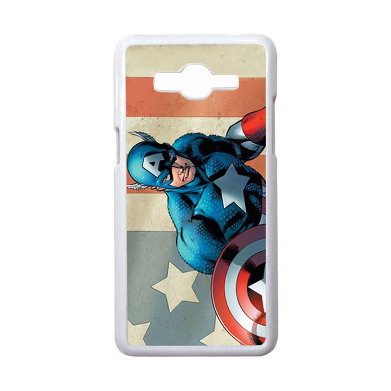 HEAVENCASE Motif Superhero Captain America 18 Casing for Samsung Galaxy Grand Prime - Putih