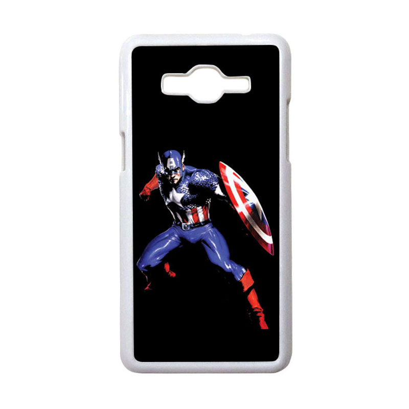 HEAVENCASE Motif Superhero Captain America 19 Casing for Samsung Galaxy Grand Prime - Putih